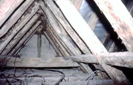 Illus. 9 The butt-purlin roof of the northern cross-wing, rebuilt in the 17th century, looking towards its front gable.  The horizontal collar is a re-used, much weathered fragment of cusped medieval barge board.